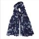 Somerville - Cashmere Camouflage Print Scarf Navy