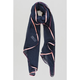 Miss Shorthair - Navy Blue Scarf with Pink and Cream Trim