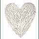 Feathered Nest - Natural Willow Wicker Heart White Medium - large