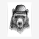 makwerk - Bear Poster - A3 (297 x 420 mm) - White/Black
