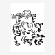 makwerk - Faces Poster - A4 (210 x 297 mm) - White/Black