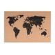 Present Time - Cork Board World Map - Brown/Black