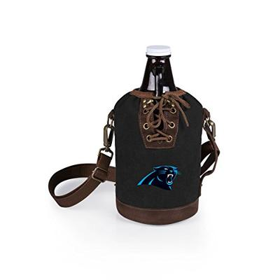 PICNIC TIME NFL Carolina Panthers Canvas Lace-up Growler Tote with 64 oz Amber Glass Growler, Black