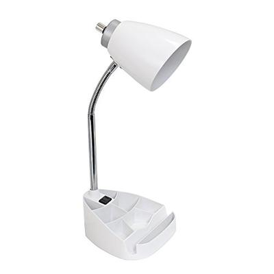 Limelights LD1057-WHT iPad Tablet Stand Book Gooseneck Organizer Desk Lamp with Holder and Charging