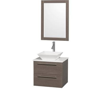Wyndham Collection Amare 24 inch Single Bathroom Vanity in Gray Oak with White Man-Made Stone Top wi