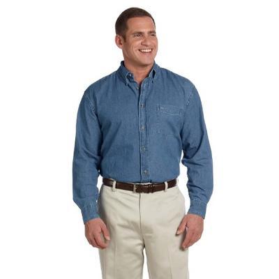 Harriton Men's Stylish Long-Sleeve Denim Shirt, Light Denim, XX-Large