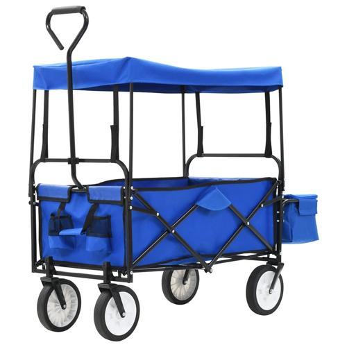 vidaXL Klappbarer Handwagen mit Sonnendach Stahl Blau