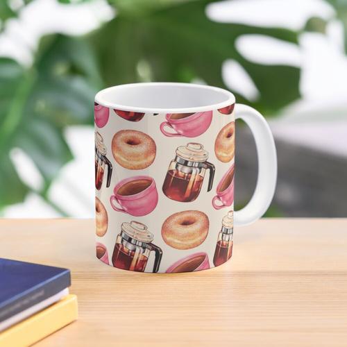 Kaffee Donuts & Percolator Muster Tasse