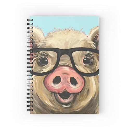 Nette Schwein-Kunst, Schwein mit Gläsern Spiralblöcke