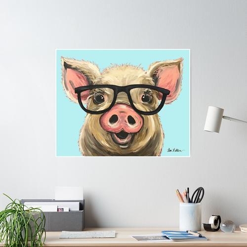 Nette Schwein-Kunst, Schwein mit Gläsern Poster