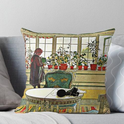 Larsson - Blumen auf der Fensterbank, Kunstmalerei Kissen