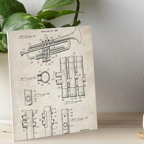Selmer Trompete Patent - Trompete Kunst - Antik Galeriedruck
