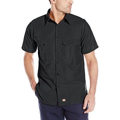 Red Kap Men's Solid Rip Stop Shirt, Black, Short Sleeve 3X-Large