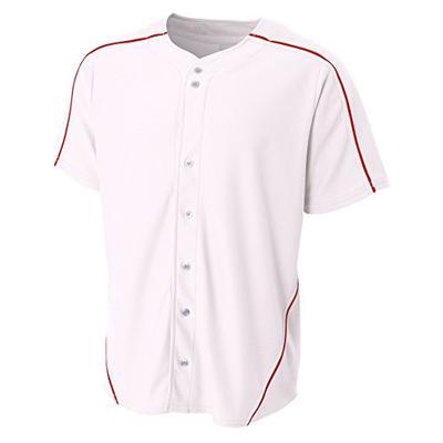 A4 Boy's Warp-Knit Baseball Jersey White Scarlet