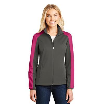 Port Authority Ladies Active Colorblock Soft Shell Jacket. L718 Grey Steel/ Pink Azalea XL