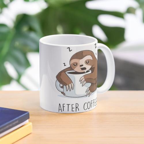 Faultier-Cartoon (vor dem Kaffee, nach dem Kaffee) Tasse