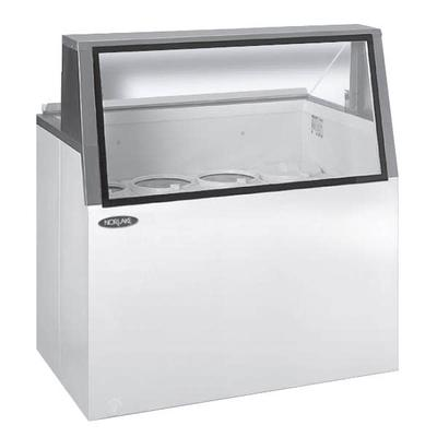 Norlake HF160WWG/0L 69″ Stand Alone Ice Cream Dipping Cabinet w/ 20 Tub Capacity – White, 115v