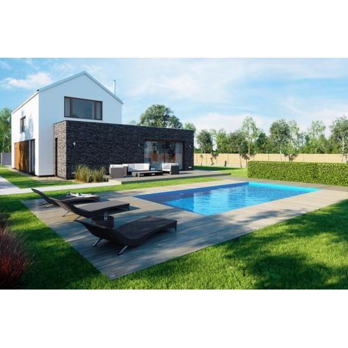 Einbaupool-Komplettset G1 mit Skimmer Einbaubecken 2,70 x 6,00m und Pool-Überdachung / Pooldach