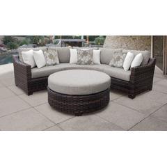 kathy ireland Homes & Gardens River Brook 4 Piece Outdoor Wicker Patio Furniture Set 04b in Truffle - TK Classics River-04B