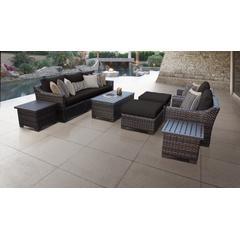 kathy ireland Homes & Gardens River Brook 10 Piece Outdoor Wicker Patio Furniture Set 10c in Onyx - TK Classics River-10C-Black