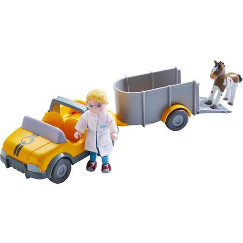 HABA Little Friends – Tierarzt-Auto mit Anhänger, gelb