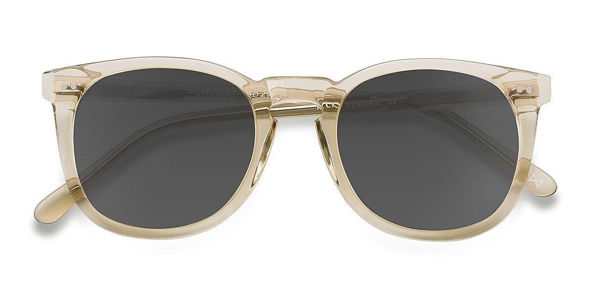 Female's Square Champagne Acetate Prescription sunglasses - EyeBuydirect's Ethereal