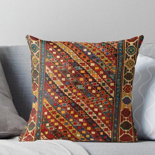 Kaukasischer Gendje Antiker Teppich Druck Kissen