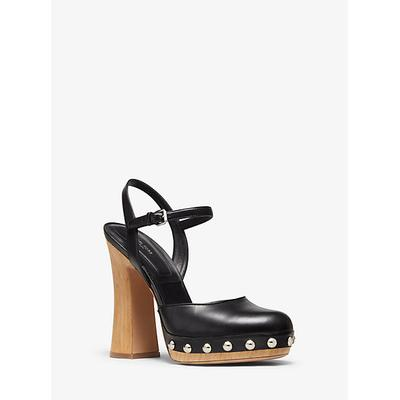Michael Kors Gail Calf Leather Mary Jane Clog Black 37.5