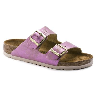 BIRKENSTOCK Arizona Suede Leather Washed Metallic Pink Two-Strap Sandals