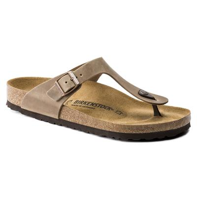 BIRKENSTOCK Gizeh Oiled Leather Tobacco Brown Thong Sandals