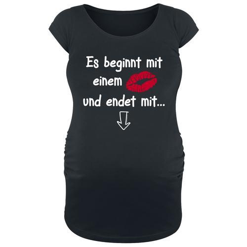 Umstandsmode Es beginnt mit einem ... und endet mit ... Damen-T-Shirt - schwarz