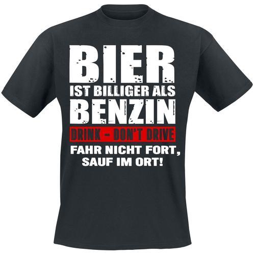 Bier ist billiger als Benzin Herren-T-Shirt - schwarz