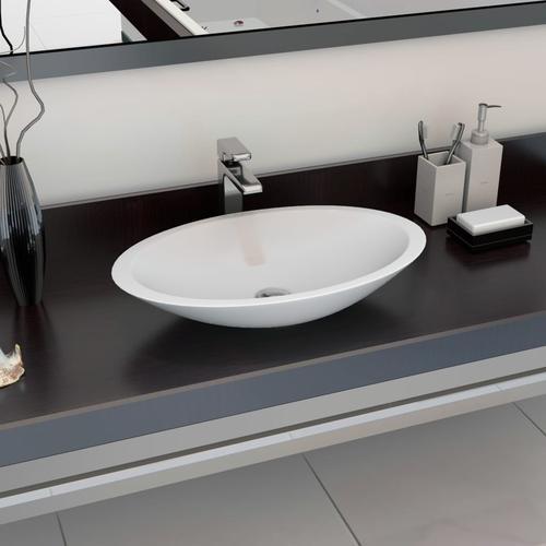 vidaXL Waschbecken 59,3 x 35,1 x 10,7 cm Mineralguss/Marmorguss Weiß