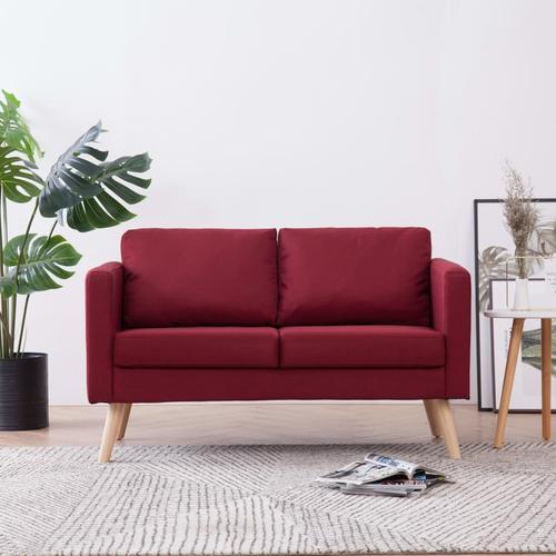 vidaXL 2-Sitzer-Sofa Stoff Weinrot