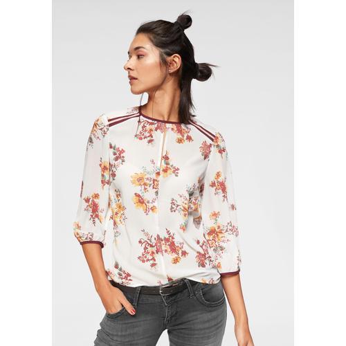 AJC Schlupfbluse, im Blumendesign mit Samtdetails weiß Damen Schlupfbluse Schlupfblusen Blusen Tuniken