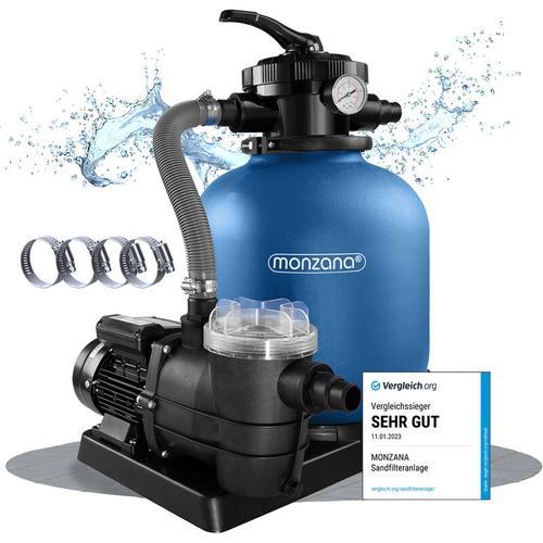 Monzana Sandfilteranlage mit Vorfilter XXL Tank 11.000 l/h Filteranlage Pool Sandfilter
