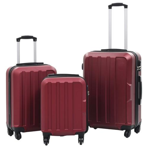 vidaXL Hartschalen-Trolley-Set 3 Stk. Weinrot ABS