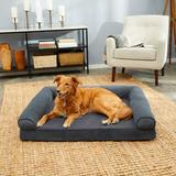 FurHaven Faux Fleece Cooling Gel Bolster Dog Bed w/Removable Cover, Orion Blue, Jumbo