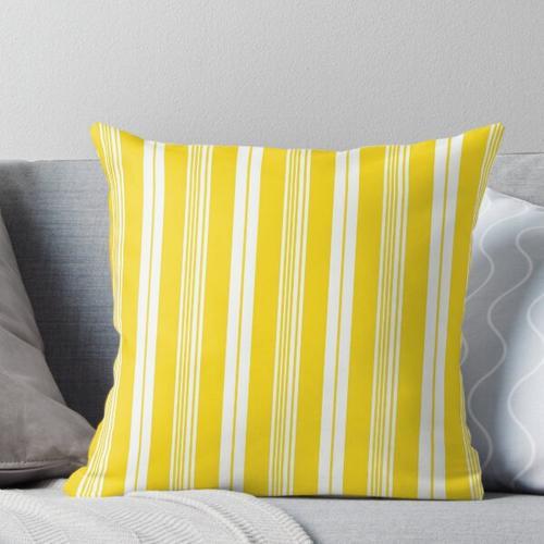 Preppy gelber und weißer Liegestuhlstreifen Kissen