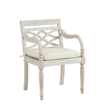 Ceylon Whitewash Armchair Replacement Cushion Trellis Taupe Sunbrella - Ballard Designs
