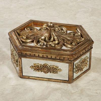 Brya Mirrored Covered Box Venetian Gold , Venetian Gold
