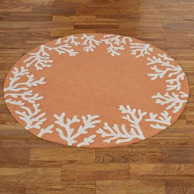 Coral Border Round Rug, 5' Round, Light Rust