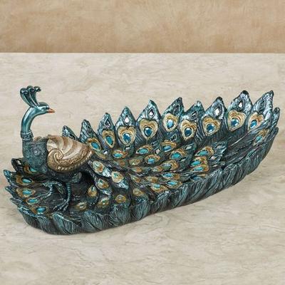 Poppy Peacock Decorative Tray Blue , Blue