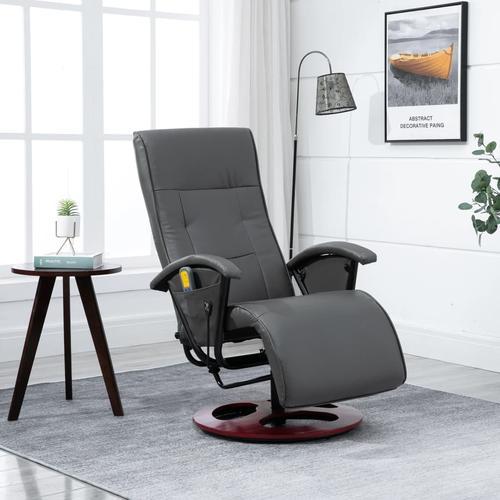 vidaXL Elektrischer Massagesessel Grau Kunstleder