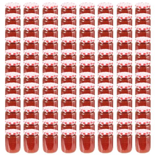 vidaXL Marmeladengläser mit Weißem/Rotem Deckel 96 Stk. 230 ml
