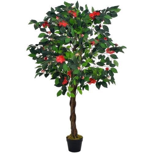 vidaXL Künstliche Pflanze Kamelie mit Topf Grün 125 cm
