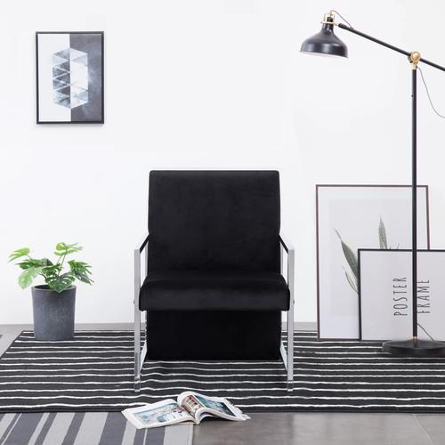 vidaXL Sessel mit verchromten Füßen Schwarz Samt