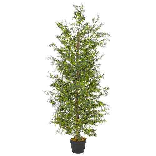 vidaXL Künstliche Pflanze Zypresse mit Topf Grün 150 cm