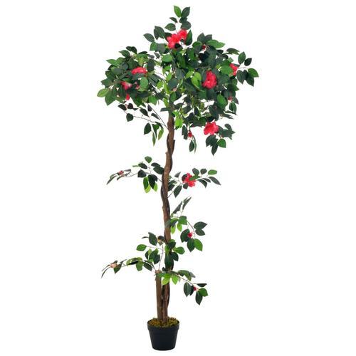 vidaXL Künstliche Pflanze Kamelie mit Topf Grün 160 cm
