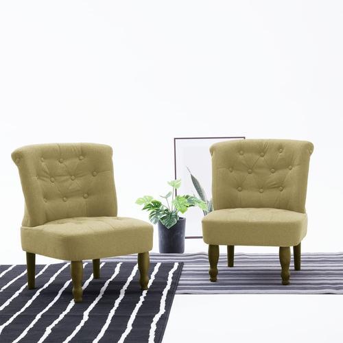 vidaXL Französische Stühle 2 Stk. Grün Stoff